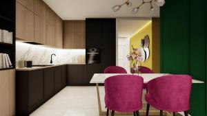 Gama Design, salon z kuchnią, kuchnia, zabudowa kuchni, aneks kuchenny, projekt pod klucz, wykończenie pod klucz, projekt pod klucz Warszawa, mala lazienka, mała łazienka,